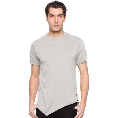 Cal-6040 Mens Asymetrical Hem T-Shirts W/buttons - Anonymous L.A.