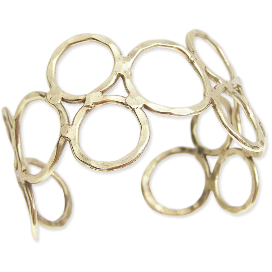 Gold Hammered Circles Cuff Bracelet - Anonymous L.A.