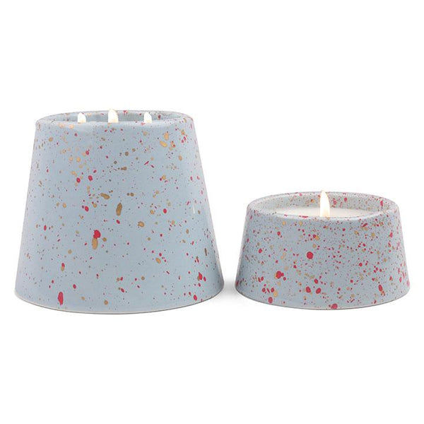 14 oz confetti Light Blue Cactus Flower & coconut ceramic with pink splatter