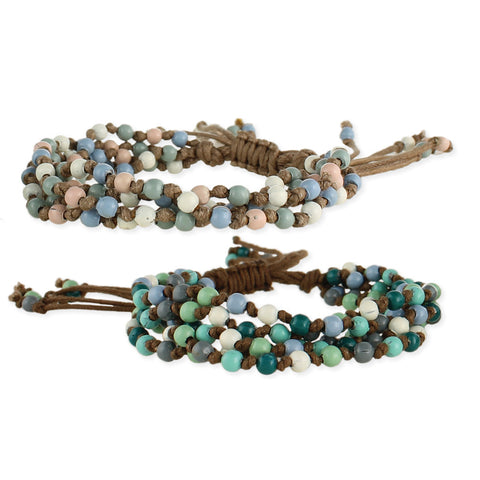 Cord and Muted Bead Pull Bracelet - Anonymous L.A.