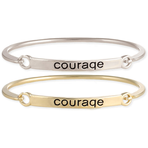 Courage Stamped Word Bangle - Anonymous L.A.
