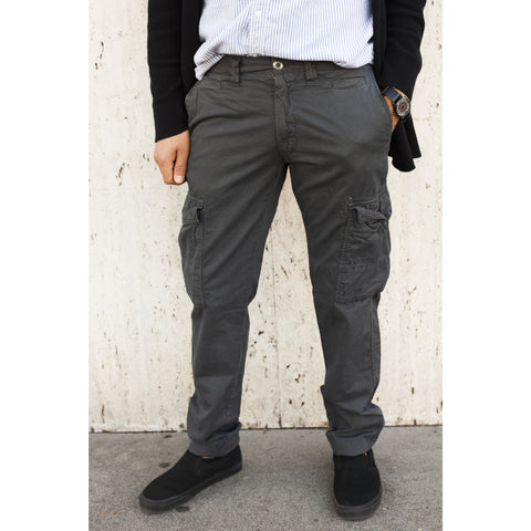 Dark Grey Cotton Twill Chino Pants