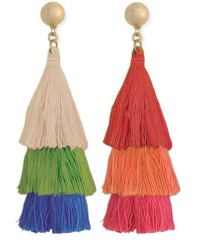 Triple Tier Colorful Tassel Earrings