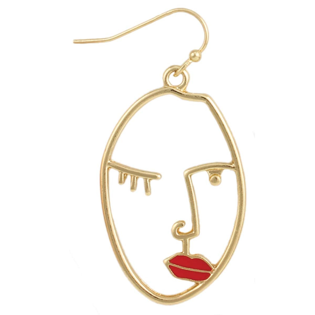 Picasso Portrait Gold Face Dangle Earring