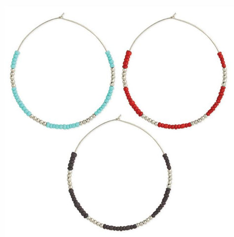 Silver & Color Beaded Wire Hoop Earrings