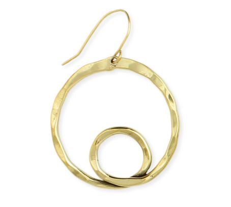Loopdeloop Gold Hammered Circle Earrings