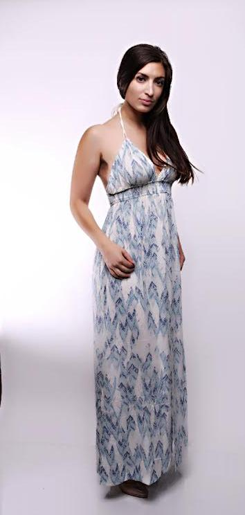 Printed Tie Neck Halter Maxi Dress