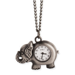 Burnished Silver Elephant Watch Necklace
