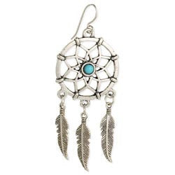 Silver Dreamcatcher & Turquoise Bead Earrings
