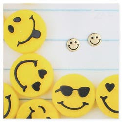 Gold Happy Face Post Earrings