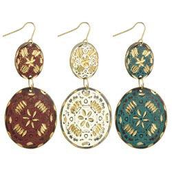 Gold Laser cut 2 Piece Oval Earrings