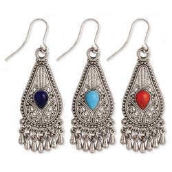 Silver Filigree Teardrop Beaded Earring