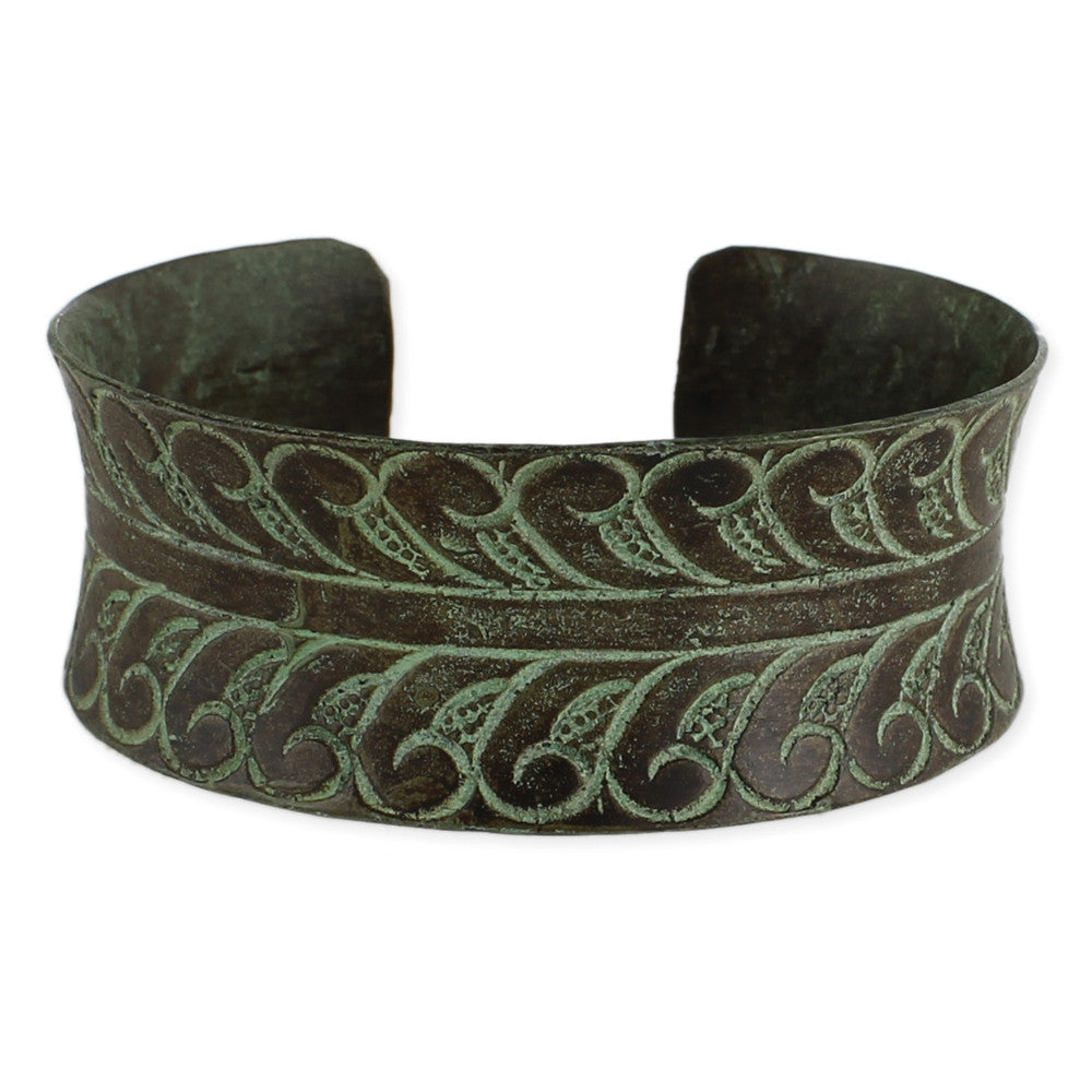 Etched Leaf Patina Cuff Bracelet - Anonymous L.A.