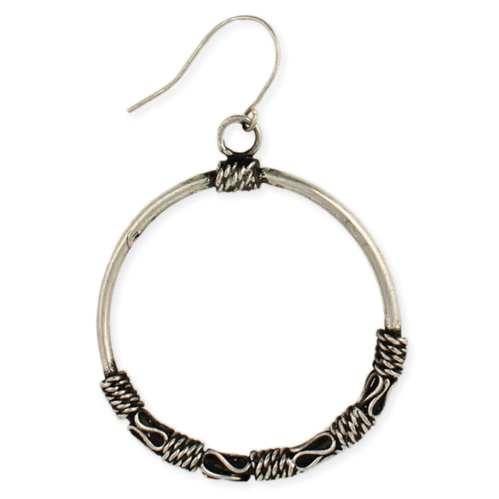 Silver Ethnic Round Dangle Earring - Anonymous L.A.