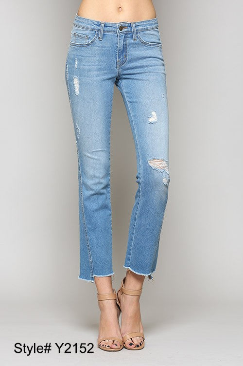 Mid Rise Twisted Seam Uneven Raw Slim Straight