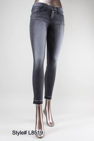 "GRAPHITE TINTED ""LET OUT THE SKINNY"" DENIM WITH CUFFED/CROPPED FINISH"