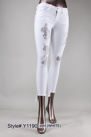 MID RISE WHITE STEP HEM DESTRUCT SKINNY (WHITE)