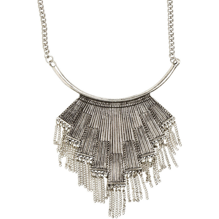 Silver Geometric Fringe Necklace - Anonymous L.A.