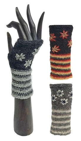 Flower fingerless woolen knit handwarmer-Brown