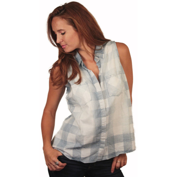 Sleeveless Washed Gingham Buttondown - Anonymous L.A. - 2