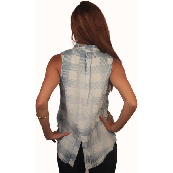 Sleeveless Washed Gingham Buttondown - Anonymous L.A. - 3