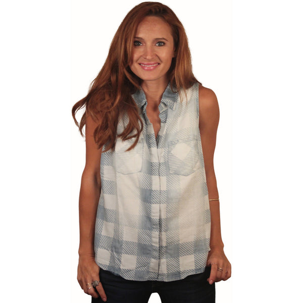 Sleeveless Washed Gingham Buttondown - Anonymous L.A. - 1