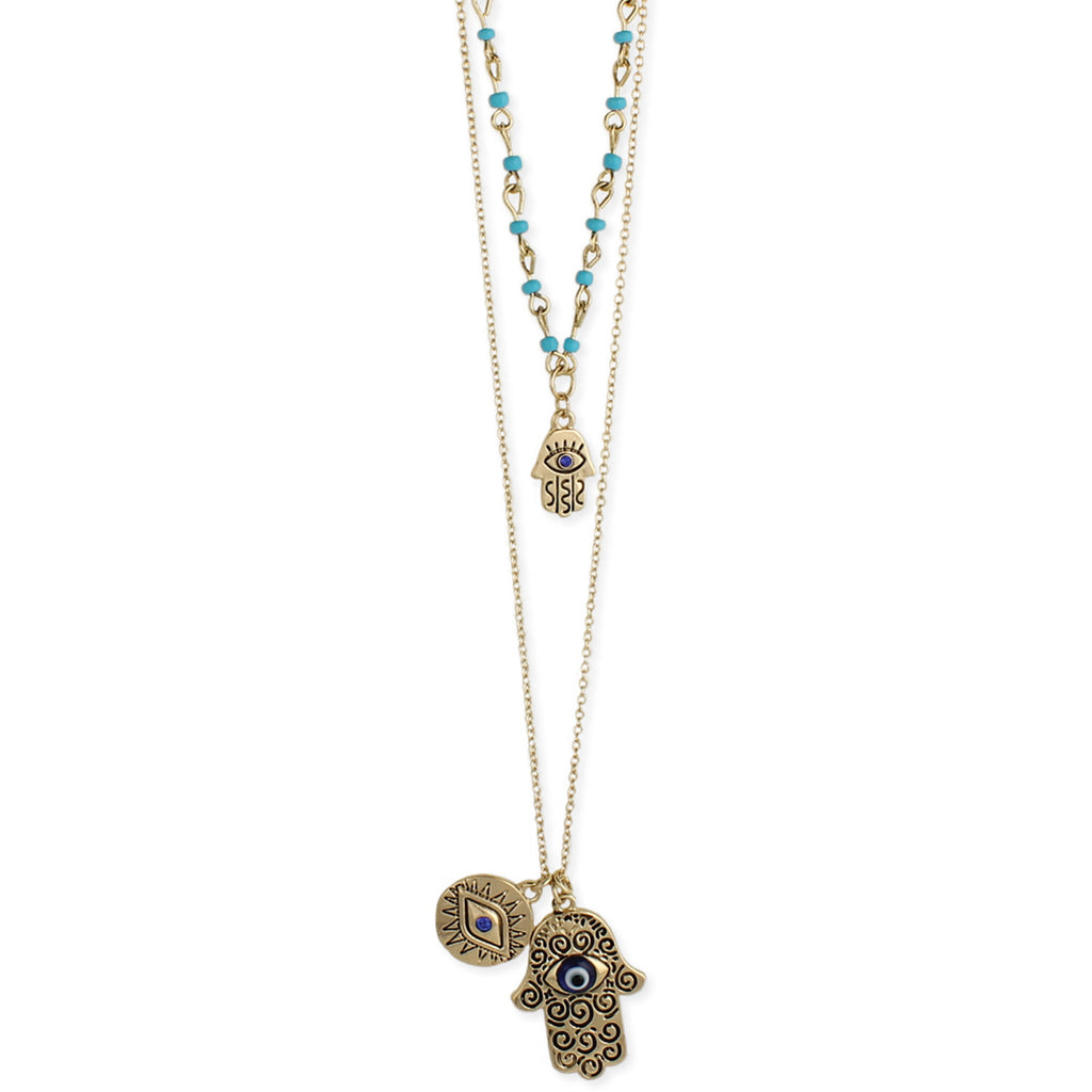 Gold & Hamsa Hand Layer Necklace - Anonymous L.A.