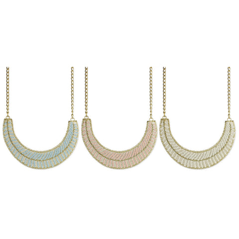 Gold & Beaded Mesh Bib Necklace - Anonymous L.A.