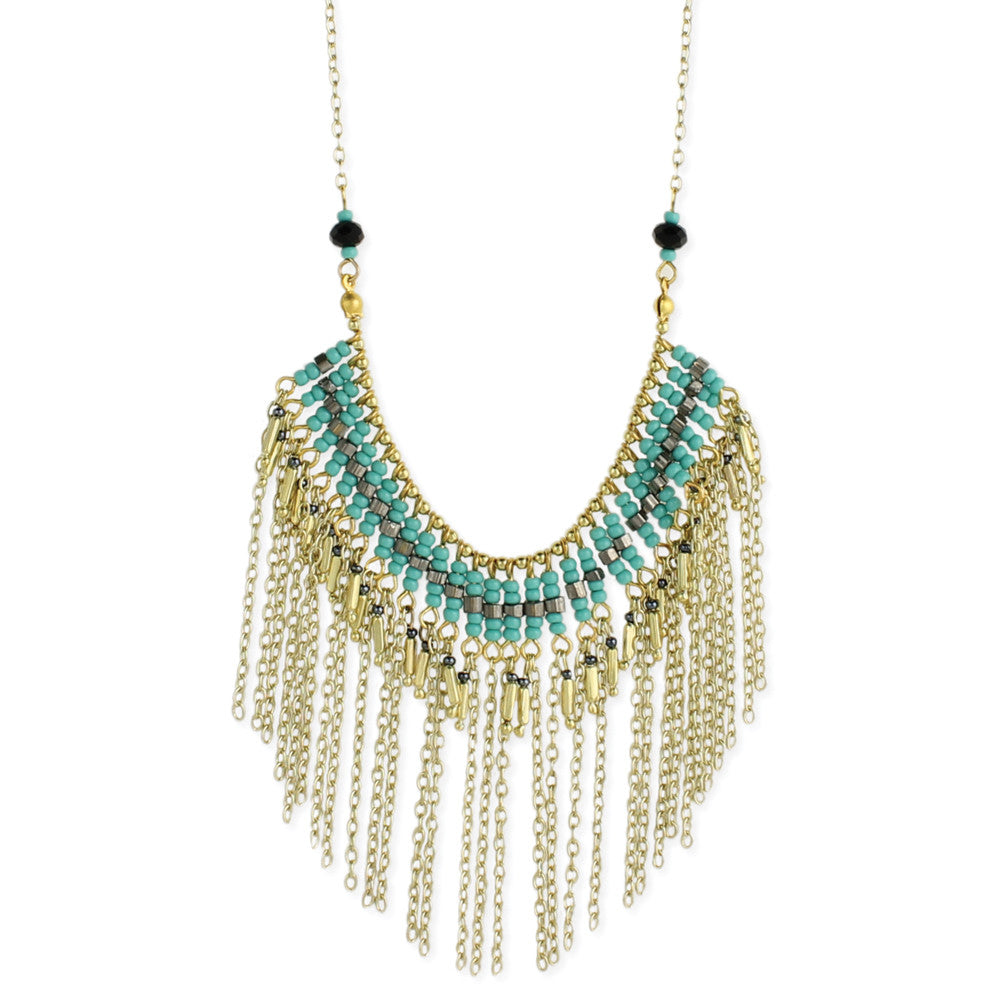 Gold & Turquoise Bead Fringe Long Necklace - Anonymous L.A.