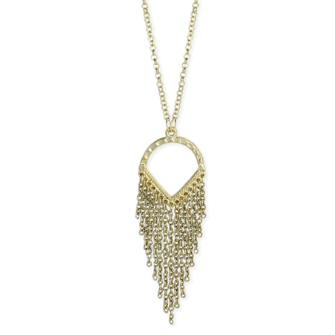 Gold Cutout Pendant Fringe Necklace - Anonymous L.A.