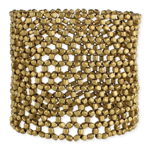 Gold Open Weave Wide Stretch Bracelet