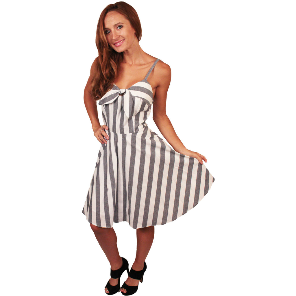 Grey Candy Stripe Rockabilly Dress - Anonymous L.A. - 1