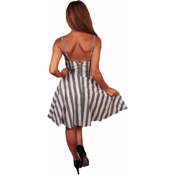 Grey Candy Stripe Rockabilly Dress - Anonymous L.A. - 4