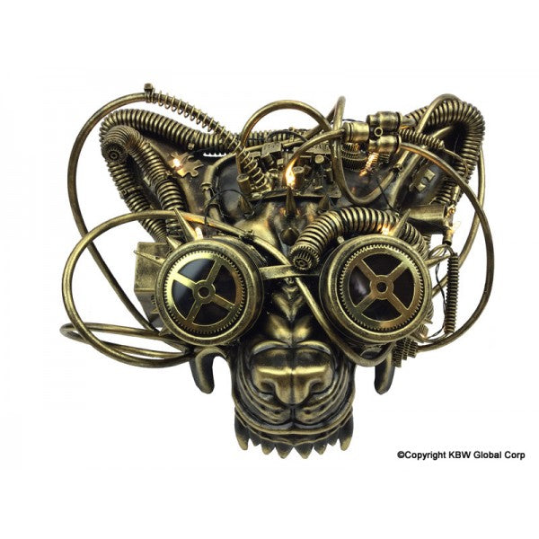Steampunk Wolf Mask With Goggles And Lights