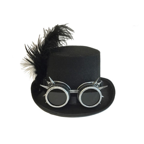 Steampunk Hat With Goggles and Feathers In Silver
