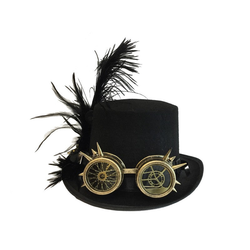 Steampunk Hat With Goggles and Feathers in Gold