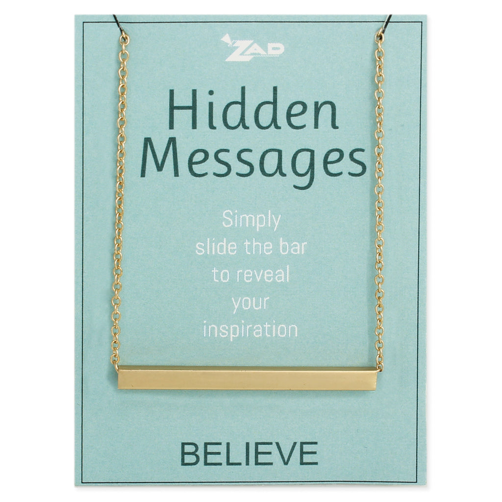Hidden Messages Slide Bar Believe Necklace