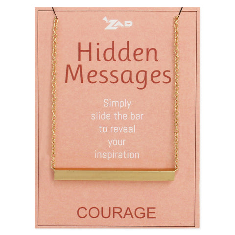Hidden Messages Slide Bar Courage Necklace