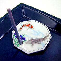 Iris & Fish - Decorative Porcelain Incense Holder