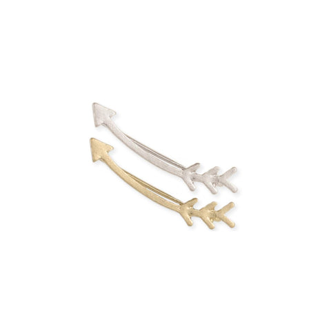 Curved Arrow Ear Climber Earring