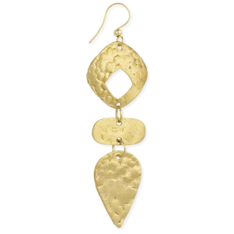 Textured Gold Geometric Earring