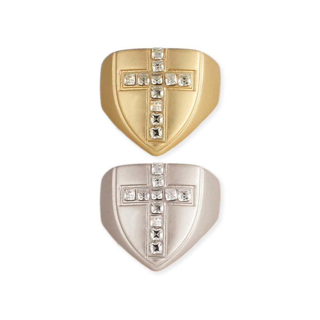 Crystal Cross Shield Signet Ring