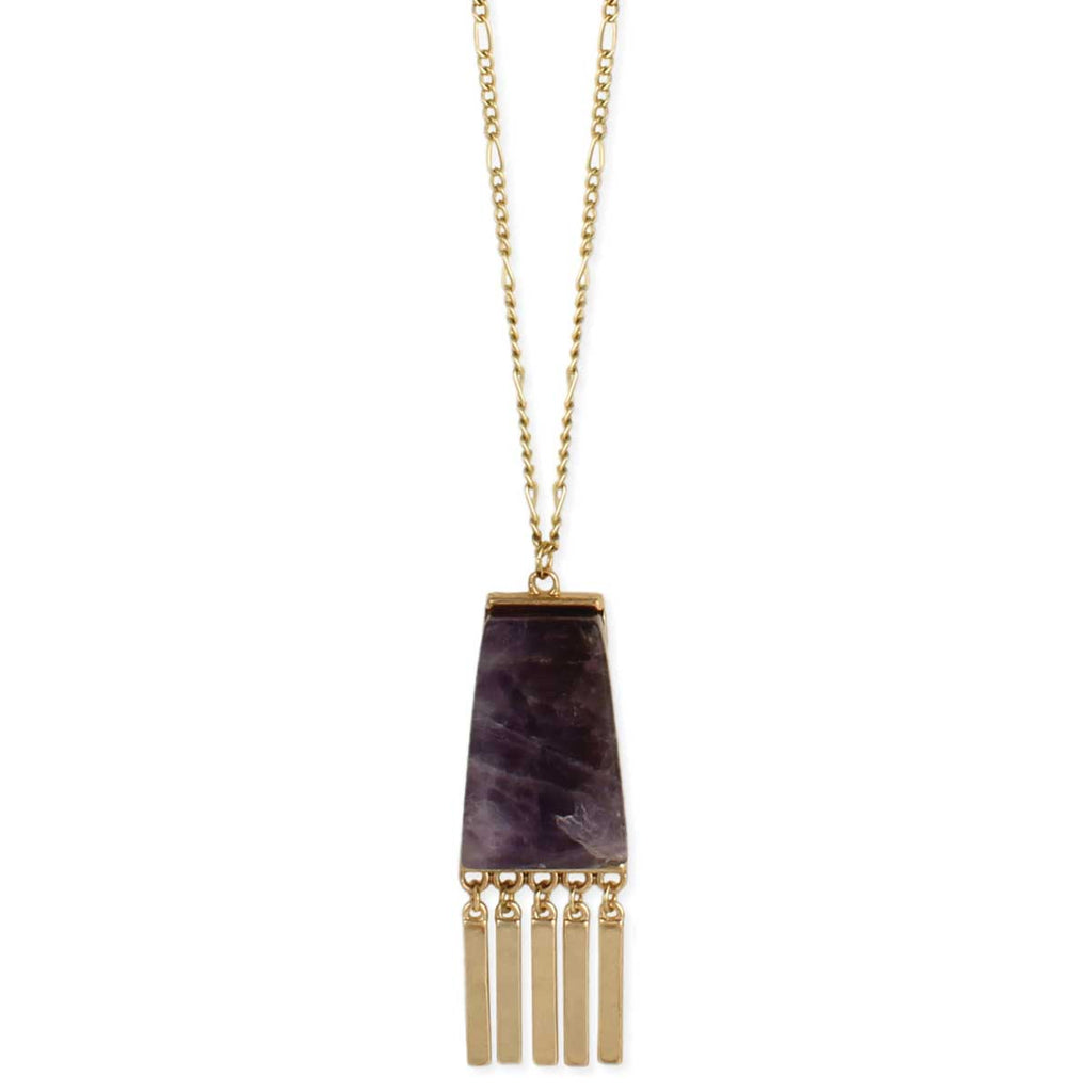 Amethyst & Gold Modern Pendant Necklace