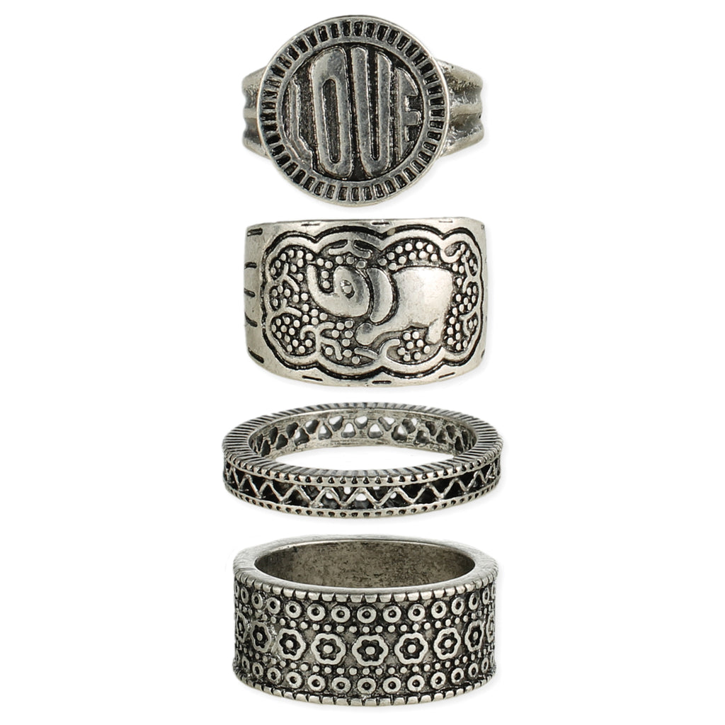 Antique Silver Boho Band Rings