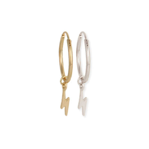 It's Electric Lightening Bolt Charm Hoop Earrings