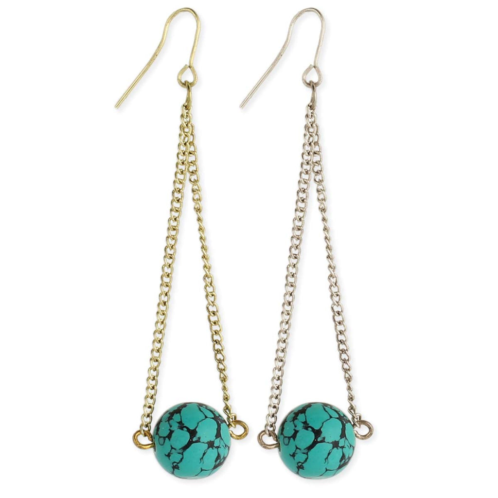 Turquoise Ball & Chain Earring