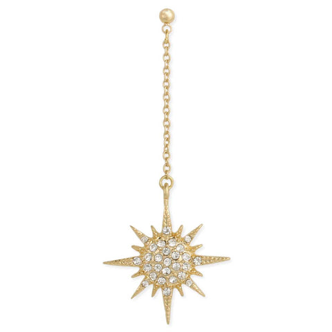 Gold & Crystal Sunburst Dangle Post Earring