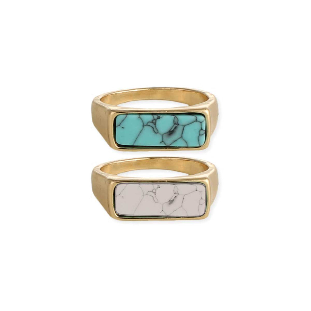 Rectangle Stone Pinky Ring