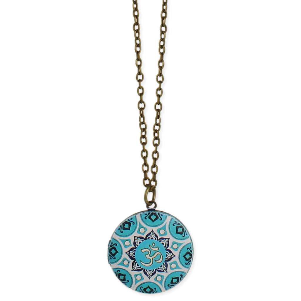 Enamel Tile Blue Om Locket Long Necklace