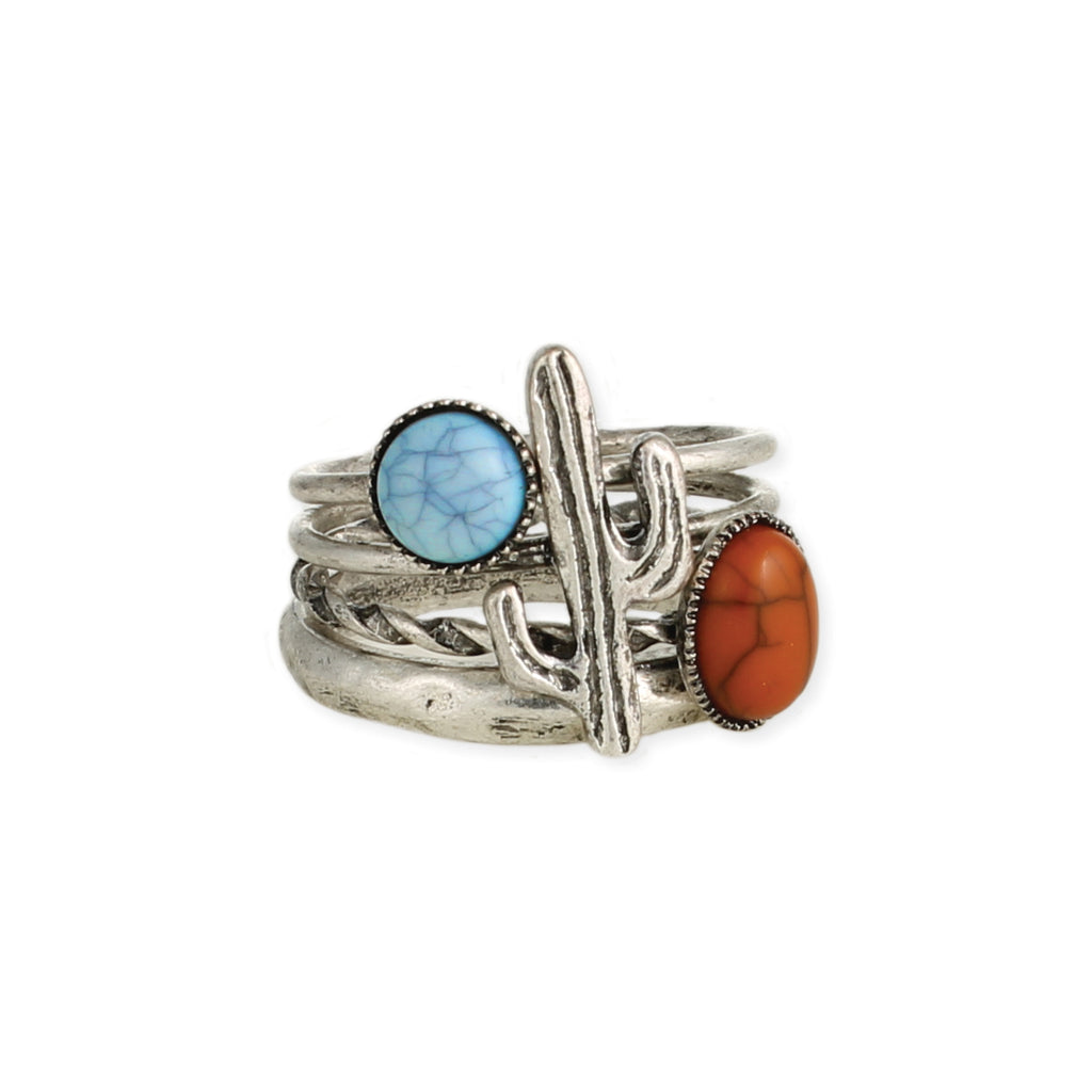 Desert Flavor Silver Stone & Cactus Ring Set of 4